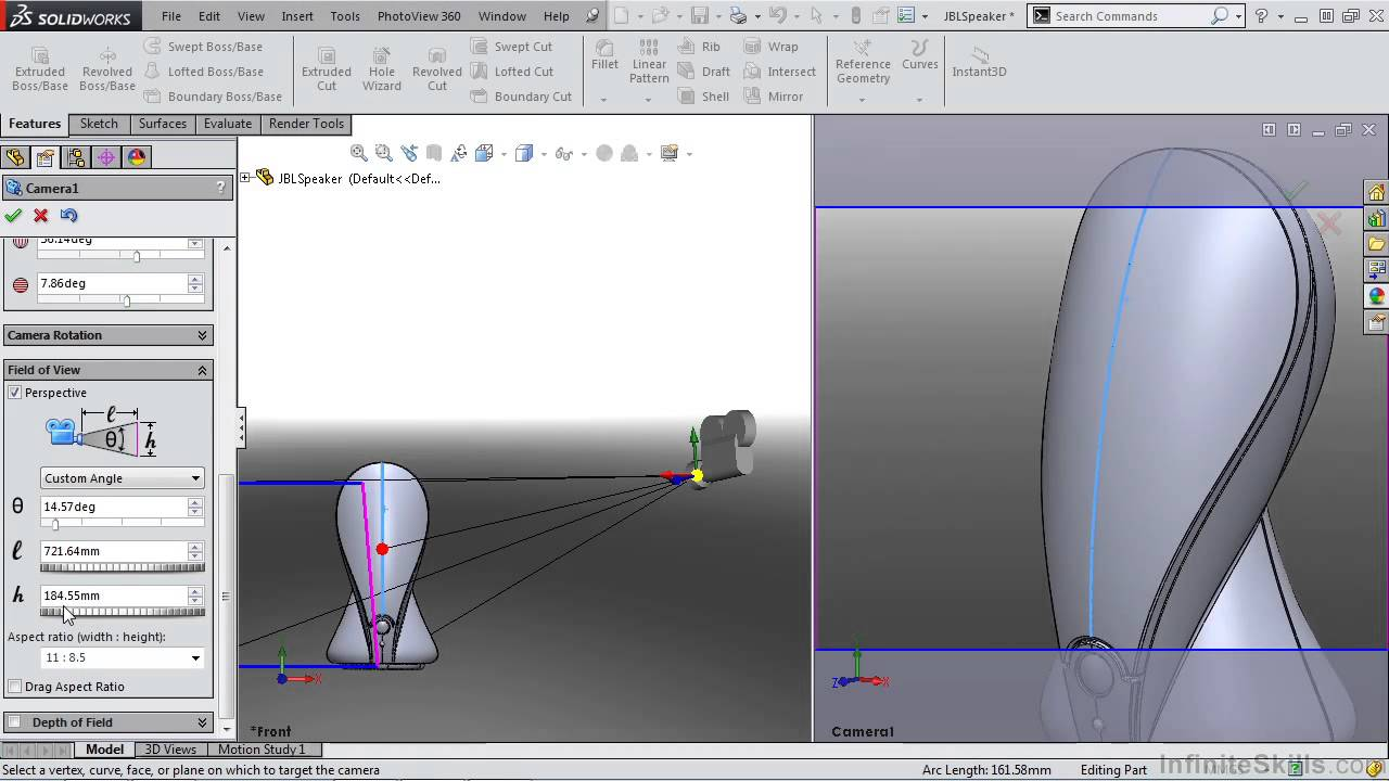 Solidworks rendering and visualization tutorial creating a camera