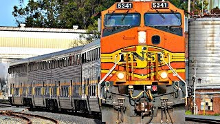 HD: BNSF/UNION PACIFIC ENGINES LEADING AMTRAK TRAINS!