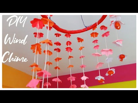 Ceiling hanging / DIY wind chime / DIY paper wall hanging / Flowers Paper Wind Chime / How To Make