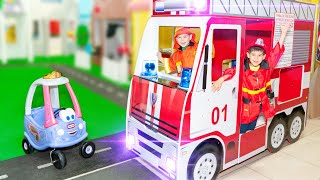 Fire truck  and playground Toy Town for children