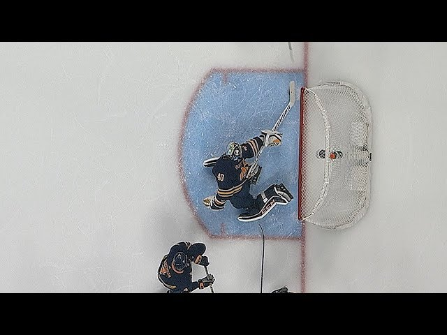 Carter Hutton uses paddle to rob Elias Lindholm
