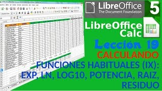 tutorial libreoffice calc 19 34 funciones ix exp ln log10 potencia raiz residuo