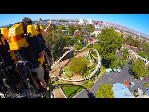 (POV) Vortex Stand-up Roller Coaster Ride - California's Great America Theme Park 2015