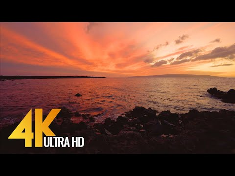 Sunset At Ahihi Bay, Maui, Hawaii - 4K Ocean View Relax Video - 3 HOUR