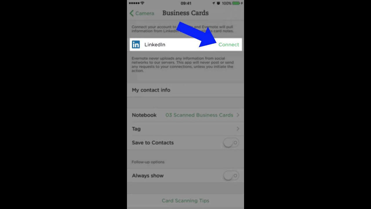 How to configure Evernote for scanning business cards - YouTube