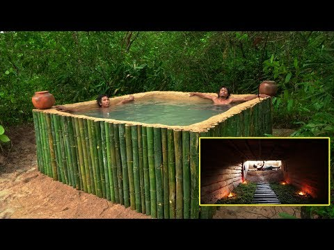 Build The Most Hidden House Underground Bamboo Swimming Pool In Deep Jungle