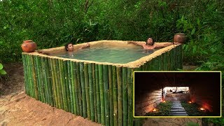 Build The Most Hidden House Underground Bamboo Swimming Pool...
