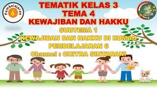 Kelas 3 Tematik : Tema 4 Subtema 1 Pembelajaran 6 (Kewajiban dan Hakku)