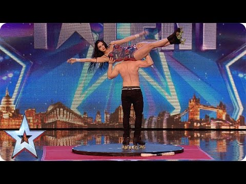 Roller skaters Billy and Emily are wheelie good! | Audition Week 1 | Britain