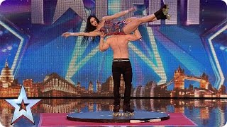 "Roller skaters Billy and Emily are wheelie good! | Audition Week 1 | Britain's Got Talent 2015(See more from Britain's Got Talent at http://itv.com/talent The Judges can't believe what they are seeing as Billy and Emily put a ""fresh spin on roller-skating""., 2015-04-11T19:15:24.000Z)"