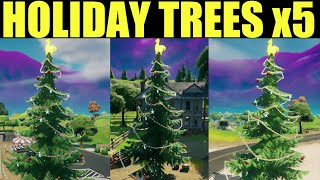 "How to ""Dance at Different Holiday Trees""  - Fortnite Holiday Tree Locations (x5)"