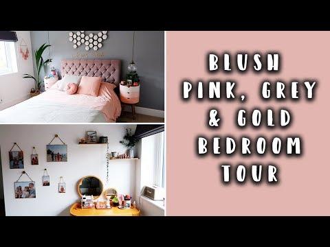 BEDROOM MAKEOVER TOUR | BLUSH PINK, GOLD & GREY BEDROOM ...