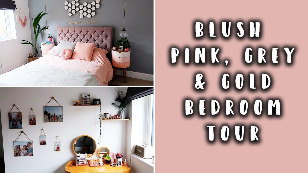 bedroom makeover tour blush pink gold grey bedroom