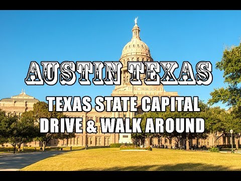 Austin Texas Drive plus walk around State Capital Building 4k