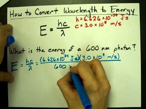 How To Convert Wavelength To Energy Youtube