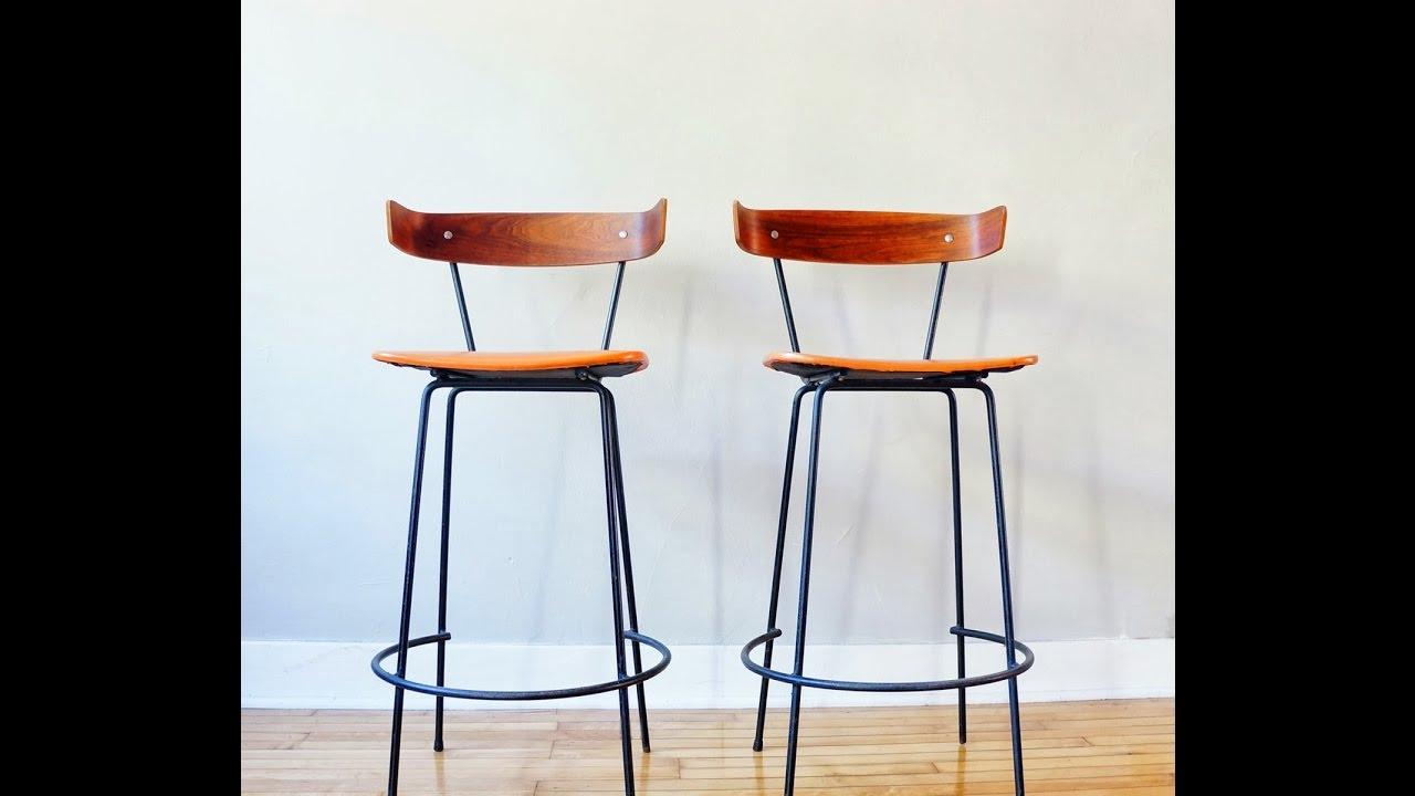 Wrought Iron Bar Stools Wood Seat - YouTube