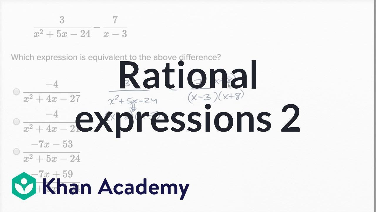 Operations with rational expressions — Harder example