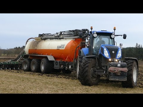 New Holland T8.360 Working Hard in The Field Injecting Slurry w/ Kaweco Manure Tanker | DK Agricult
