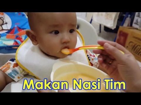 Bayi 6 bulan makan nasi tim (bubur saring) + wortel