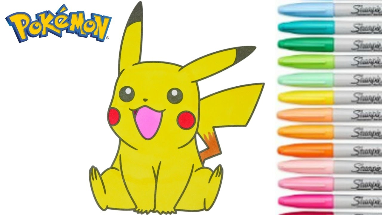 Pikachu Coloring Book Pokemon Go Colouring Pages For Kids Rainbow Splash Youtube