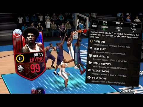 WE GOT THE BEST CARD IN THE GAME!! NEW 99 DR J GAMEPLAY IN NBA LIVE MOBILE!!