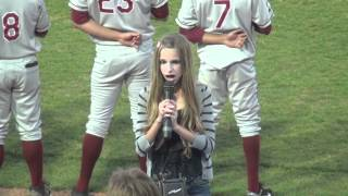 Madi sings God Bless America at a Minor League Baseball Game
