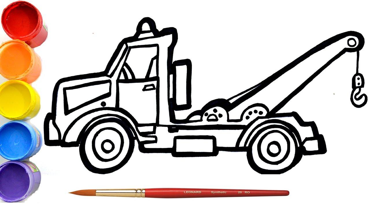 Cara Menggambar  dan Mewarnai  Mobil Crane | Belajar menggambar dan mewarnai mobil untuk anak-anak