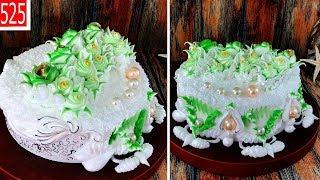 cake decorate art shaded leaves and jewel - bánh sinh nhật xanh lá đẹp đơn giản (525)