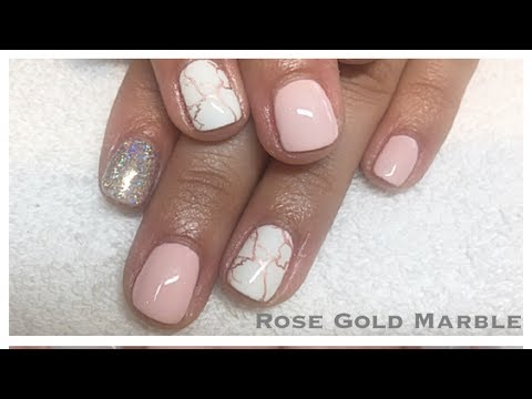Rose Gold Chrome Marble Gel Nail Tutorial