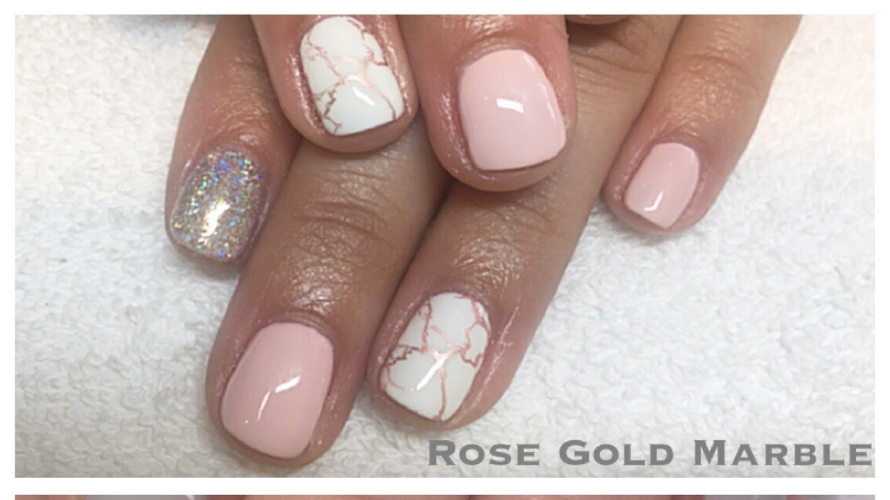 Rose Gold Marble Gel Nail Tutorial Chrome Stamping Polish