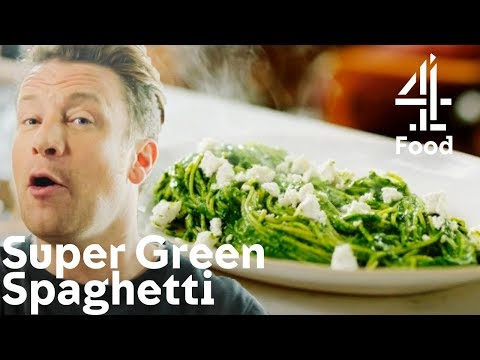 Cooking a SUPER HEALTHY Green Spaghetti with Only 5 Ingredients! | Jamie's Quick & Easy Food