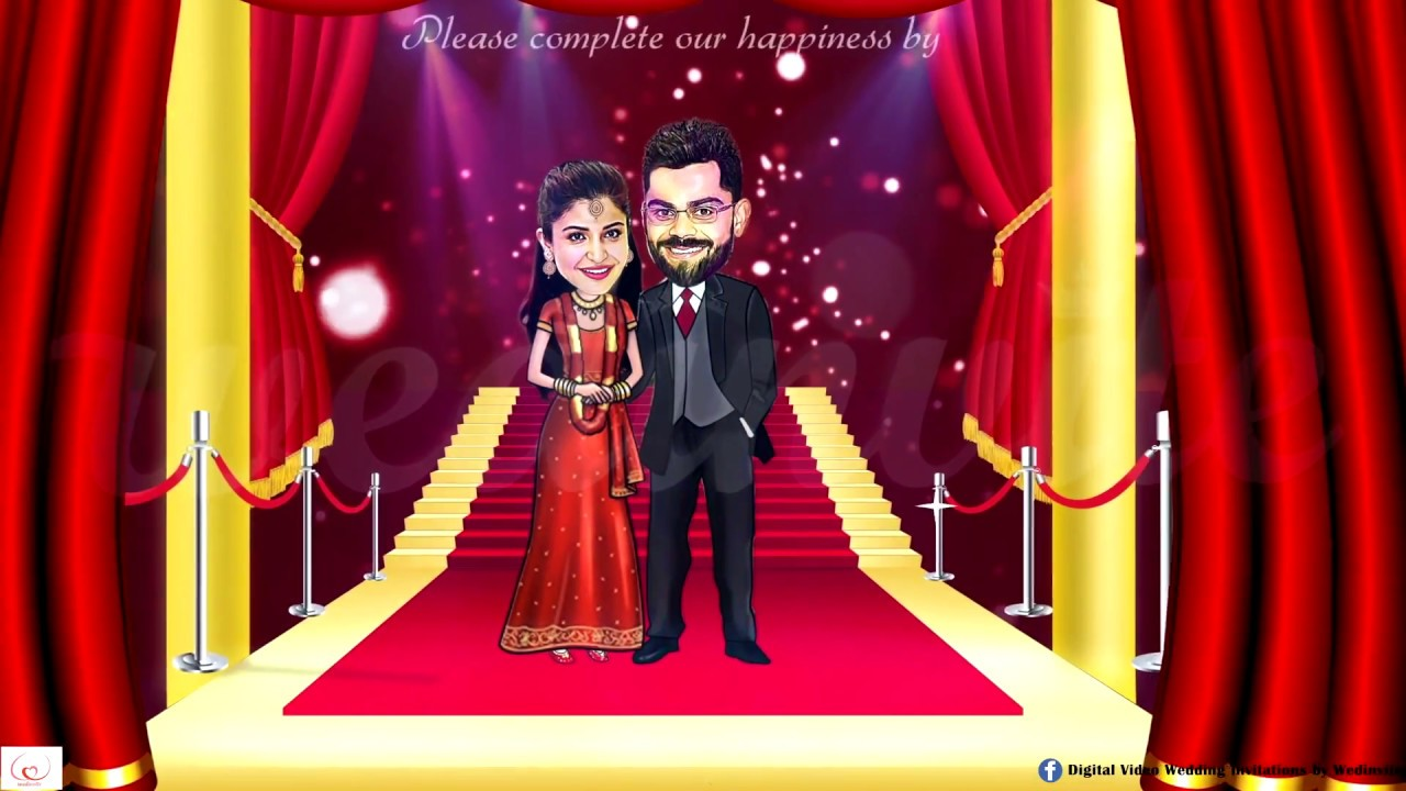 Caricature Wedding Invitation - Red Carpet - YouTube