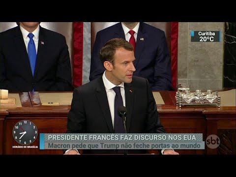 Presidente francês pede que EUA não fechem as portas ao mundo | SBT Brasil (25/04/18)