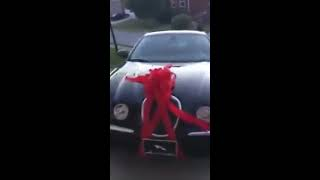husband surprise his wife with brand new car