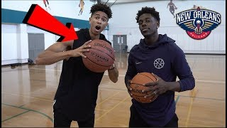 connectYoutube - 1v1 BASKETBALL vs. NBA ALL-STAR Jrue Holiday! Oversized Basketball Challenge