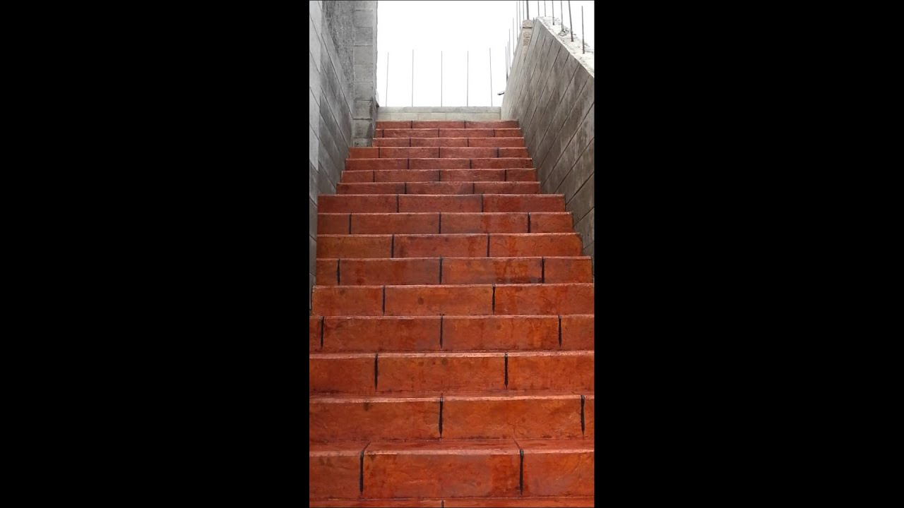 Concrete Stairs Colored With Terra Cotta Color Youtube