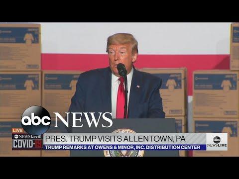 Trump Speaks At Medical Supplies Distributor In Pennsylvania