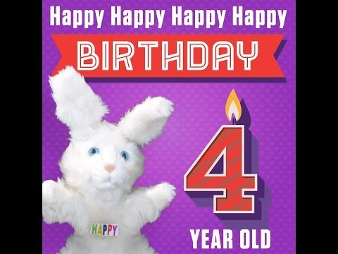 """Hoppa The Happy Bunny """"Happy Happy Happy Happy Birthday (4 Years Old)"""""""