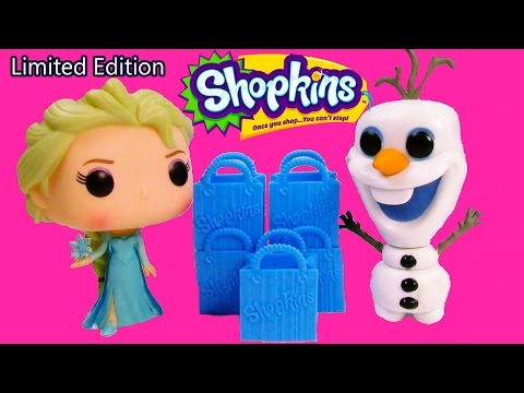 Disney Frozen RARE Shopkins LIMITED EDITION POP Vinyl Queen Elsa Snowman Olaf 5 Pack Unboxing