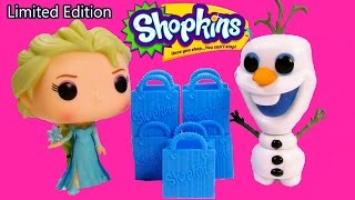 Disney Frozen RARE Shopkins LIMITED EDITION POP Vinyl Queen Elsa Snowman Olaf 5 Pack Unboxing