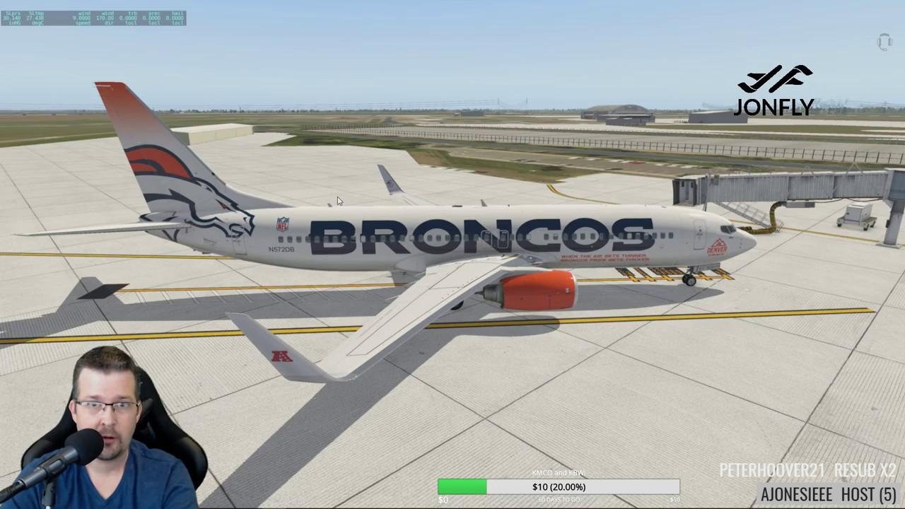 X-plane 11 Default 737 with Zibo mod KLNK to KMSP Broncos Livery