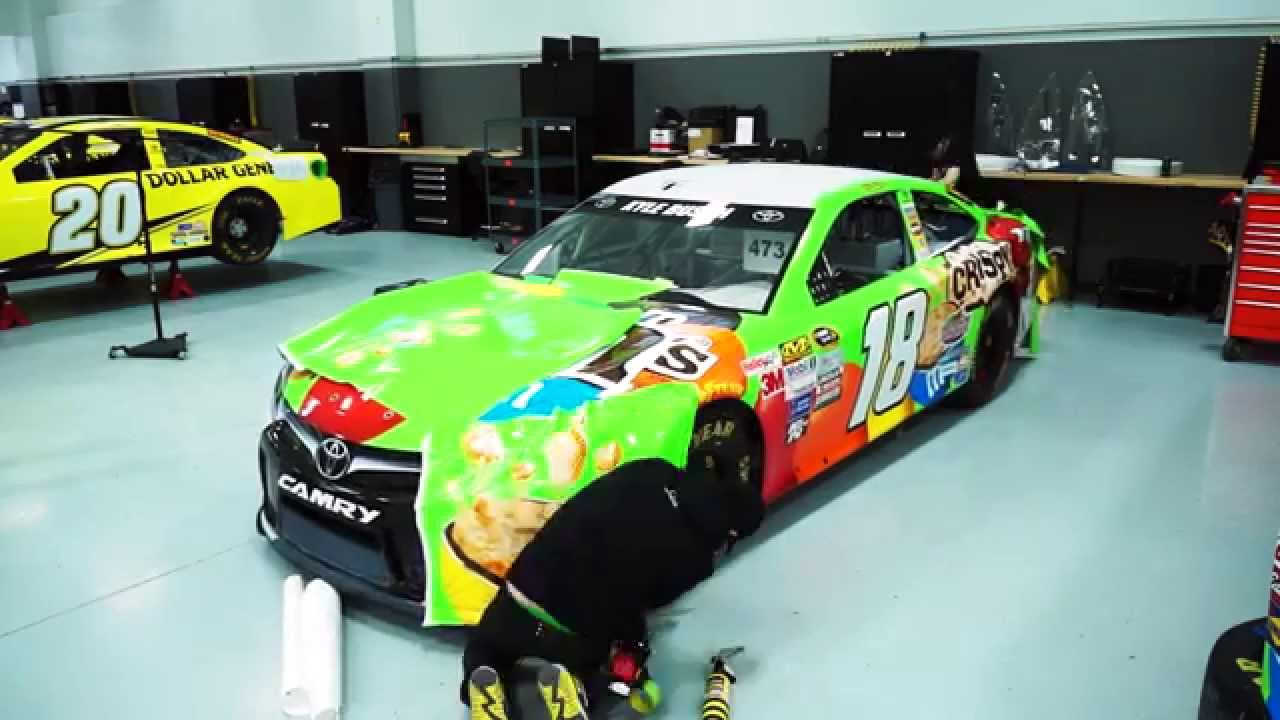 Kyle busch 39 s no 18 crispy m m 39 s toyota gets wrapped for daytona youtube - Pictures of kyle busch s car ...