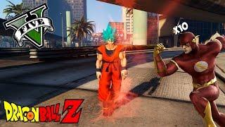 Goku ssj blue kaioken vs 10 flash que locura!!   gta 5 mod dragon ball
