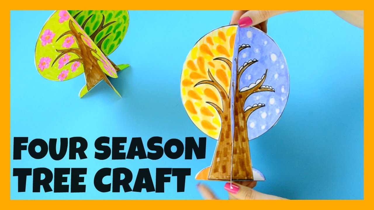 Four Seasons Tree Craft With Template Paper Crafts Ideas Youtube