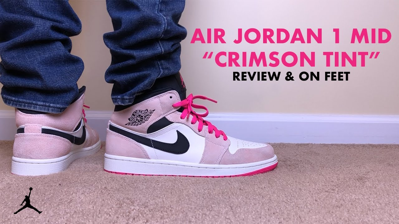 dd850c9fd590fc Air Jordan 1 Mid Crimson Tint Hyper Pink Review and On Feet - YouTube