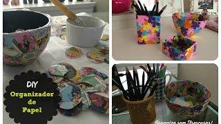 DIY: Organizador feito de jornal, gibi, revista ou papel colorido Thumbnail
