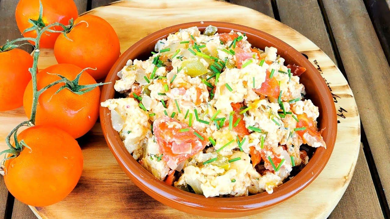 Cena en 10 minutos con con pocos ingredientes | Revuelto de huevos y verdura