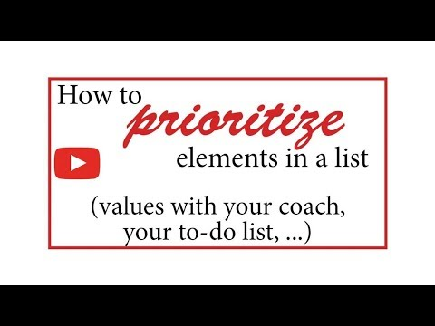 An algorithm to prioritize list elements (values in a coaching session, to-do list)