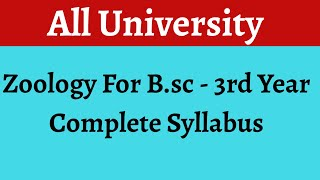 COMPLETE SYLLABUS OF APPLIED AND ECONOMIC ZOOLOGY FOR Bsc - III