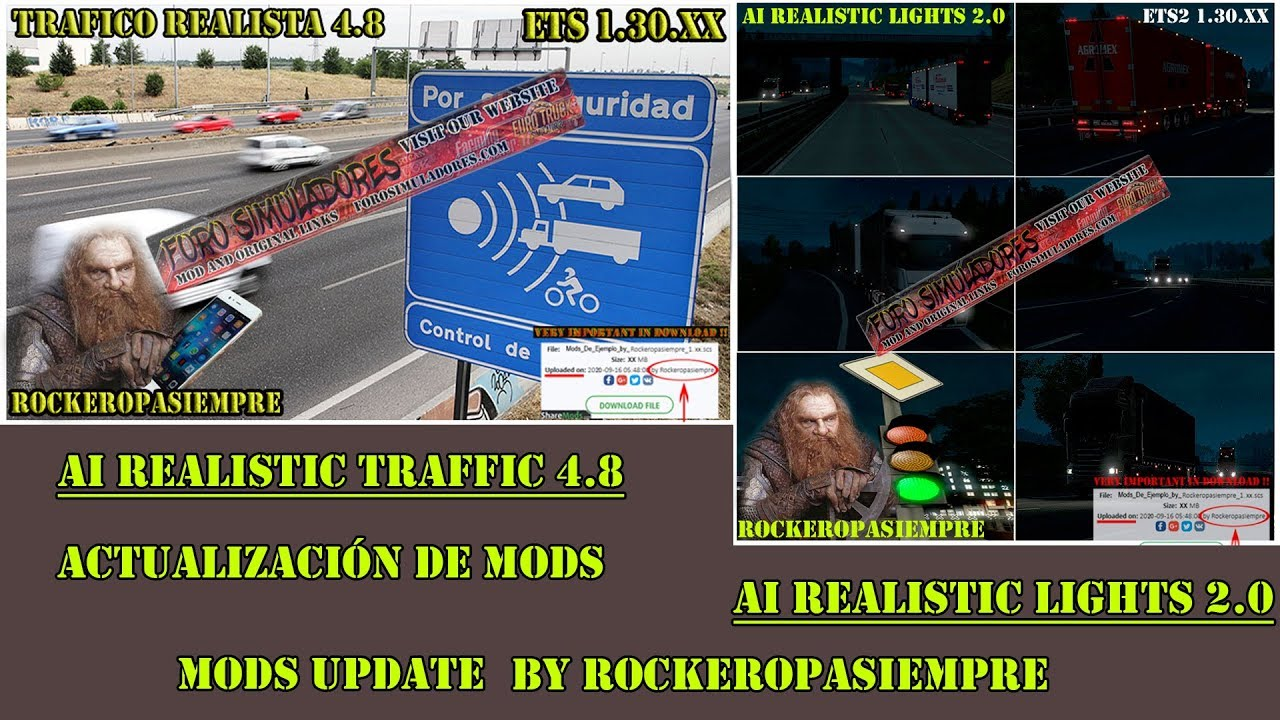 Nuevos mods: AI Realistic traffic 4 8 and AI Realistic Lights 2 0 for ETS2  1 30 XX